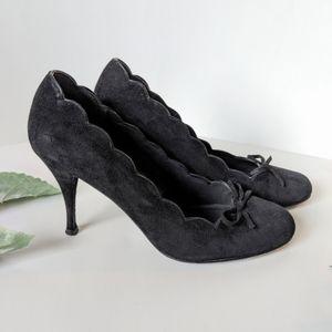 Stuart Weitzman black suede leather heels …